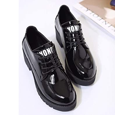 80d2c8ce5fb Image Unavailable. Image not available for. Color  Isabelvictoria  Comfortable Students Girsl Women Flat Platform Shoes Soft Patent Leather  Lace Up ...