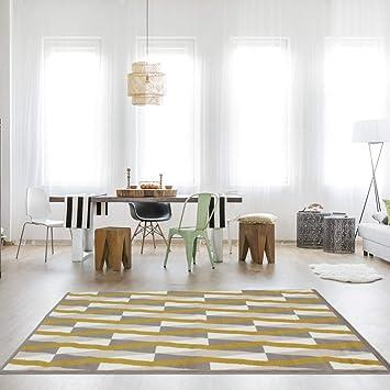 Milan Ochre Mustard Yellow Grey Diamond Tile Geometric Traditional
