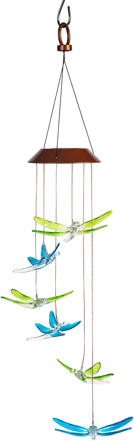 DUSVALLY Solar Wind Chimes Color Changing Mobiles Wind Light for Home Garden Décor Ornaments,Dragonfly