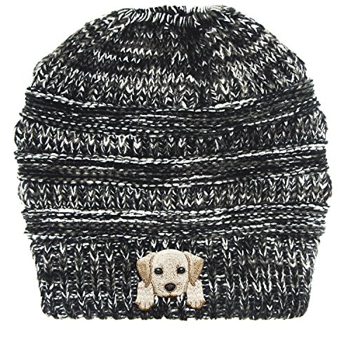iever/Embroidered Puppy Dog Series Beanie - Stretch Fleece Cable Knit High Bun Ponytail Skullies Hat Cap - Black White Mix ()