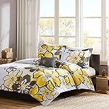 Mizone Allison 4 Piece Comforter Set, Yellow, Full/Queen