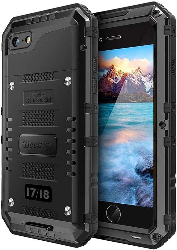 Beeasy Funda Aluminio iPhone 7/8 Antigolpes,IP68 Certificado Impermeable Carcasa,360 Grados Protección Protector de Pantalla Incorporado,Militar Antipolvo Robusta Resistente Duradera Fuerte,Negro: Amazon.es: Electrónica