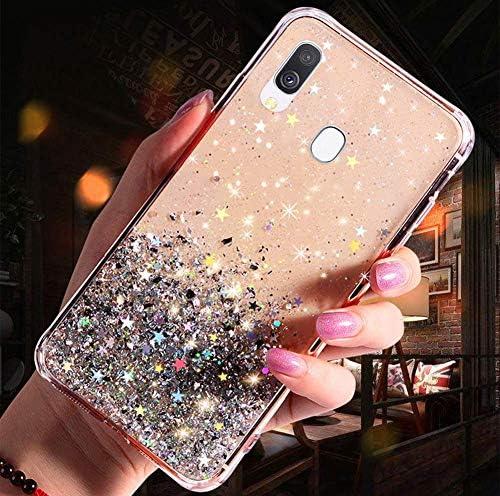 Herbests Kompatibel mit Samsung Galaxy A40 Handyhülle Glänzend Bunt Strass Sterne Glitzer Weich Silikon Hülle Ultra Dünn Crystal Clear Handytasche Durchsichtige Schutzhülle Case,Klar