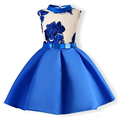 Moonker Child Girls Sleeveless Flowers Embroidery Party Wedding Formal Dresses (Blue, 2-3