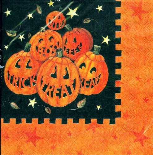 CR Gibson Spooky Smiles Pumpkin Jack-O-Lanterns Luncheon Napkins 40 Ct Autumn Harvest Halloween Susan Winget