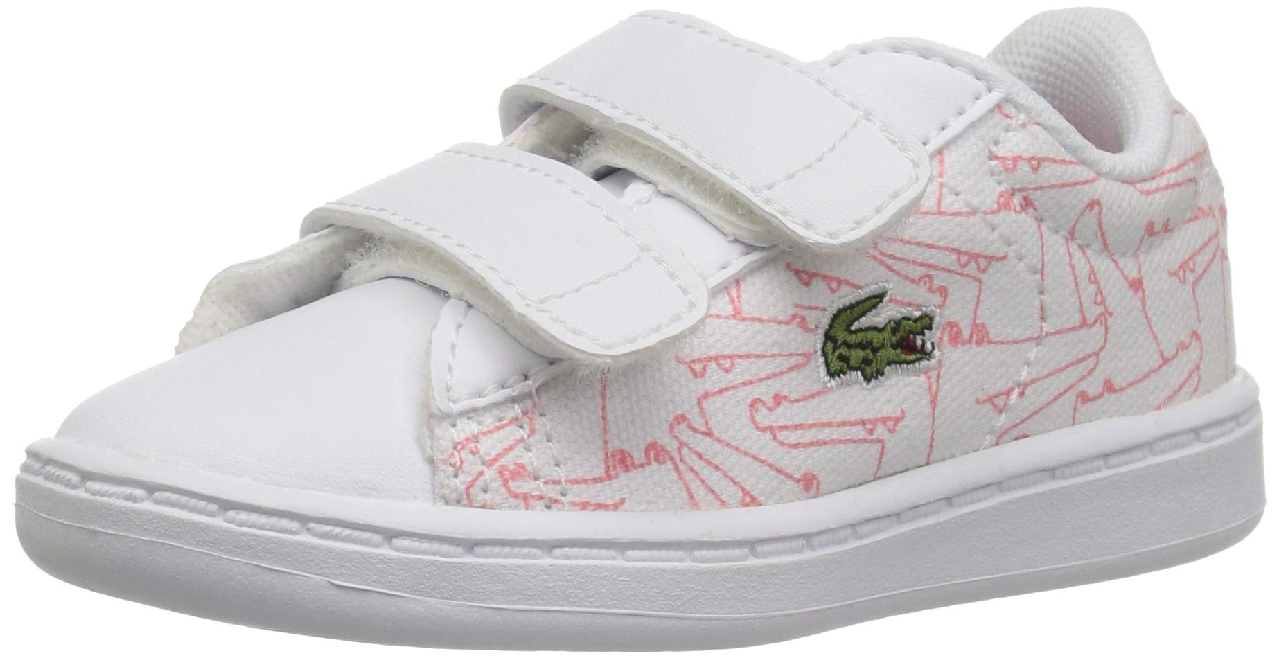 Lacoste Baby Carnaby EVO Sneaker, White/Pink