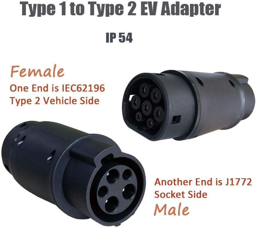 K.H.O.N.S. EV Adaptador Tipo 1 a Tipo 2 32A para Tipo 2 Vehículos Eléctrico, Conectado Automóvil Estándar Europeo, J1772 Macho a IEC 62196-2 Hembra Enchufe