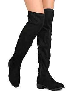 860d47119ac ShoBeautiful Women s Thigh High Flat Boots Stretchy Pull on Casual Boots by  ...