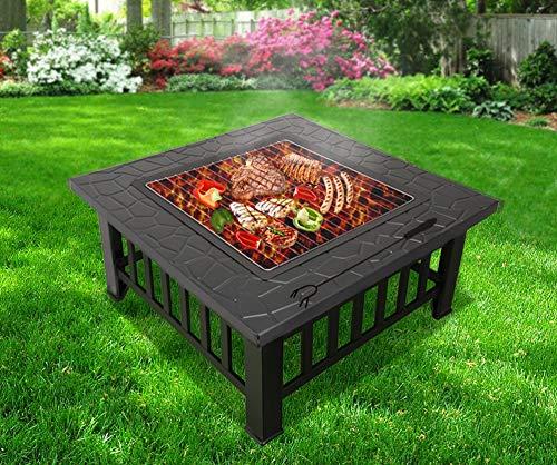 RayGar 3 en 1 cuadrado Fire Pit BBQ hielo Pit calentador de Patio estufa brasero para barbacoa Metal jardín al aire libre estufa + funda protectora (ahora ...