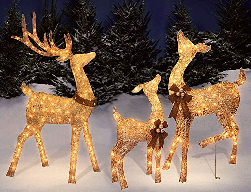 outdoor platinum shimmer lighted reindeer family set with buck deer doe and baby fawn