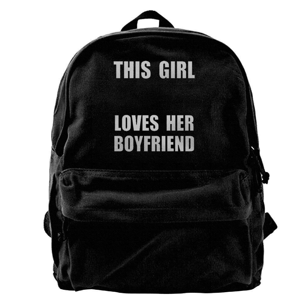 AiLe HLOL This Girl Loves Her Boyfriend Fashion Canvas Shoulder Backpack for Men & Women Teens College School Bag Travel Daypack Bags Black