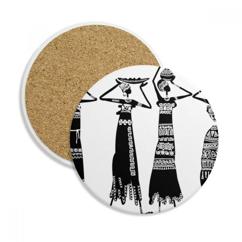 Primitive Africa Dresses Aboriginal Black Totems ストーンドリンクセラミックコースター マグカップギフト 2個   B0761LV33B