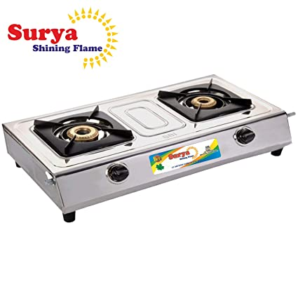 b9fb0306317 Buy Surya Shining Flame Classic Stainless Steel 2 Burner Gas Stoves  (Multicolour) Online at Low Prices in India - Amazon.in