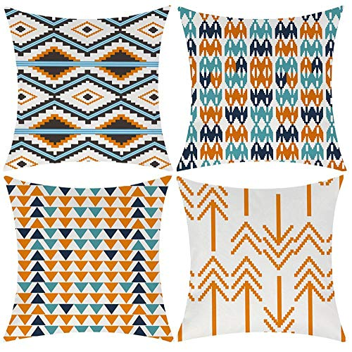 Modern Simple Geometric Style Cotton Linen Burlap Vibrant Orange Decorative Throw Pillow Covers, 18x18 Inches, Set of 4 (Orange) ()