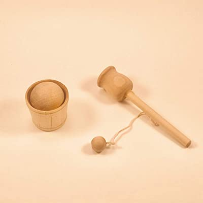 Wooden Cup Ball and Toss by Avery&Ruth- Sensory Bin Tools for Transfer - Montessori and Waldorf Aligned Open-Ended Toys. (Ball and Toss): Toys & Games