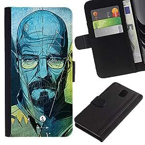 ZCell / Samsung Galaxy Note 3 III / Walter Blue Character Tv Show Chemist / Caso Shell Armor Funda Case Cover Wallet / Walter azul carácte