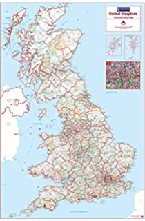 postcode area map 1 uk colour standard matt paper