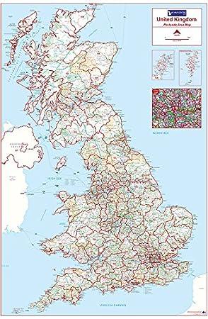 Map Of Uk By Postcode.Postcode Area Map 1 Uk Colour Standard Matte Paper