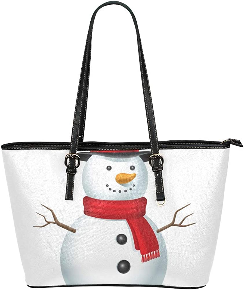 Zipper Tote Cute Childlike Winter White Snowman Leather Hand Totes Bag Causal Handbags Zipped Shoulder Organizer For Lady Girls Womens Reuseae Grocery Bags