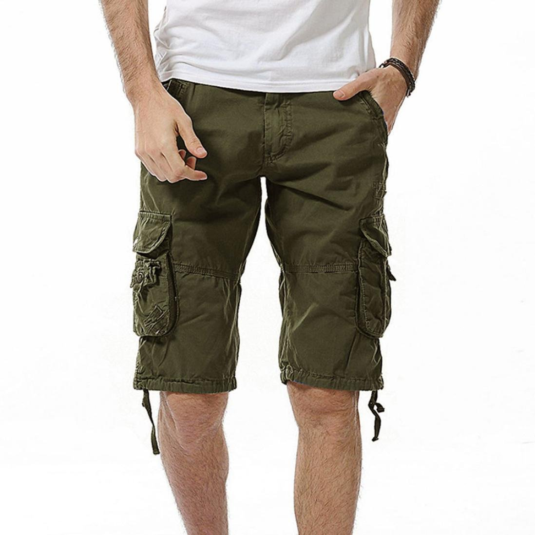 Clearance! PASATO Classic Mens Casual Pocket Beach Work Casual Men Short Trouser Shorts Pants(Green, 38)