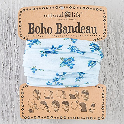 Natural Life Women's Boho Bandeau, Light Blue with Dark Blue Roses - Dark Blue Rose