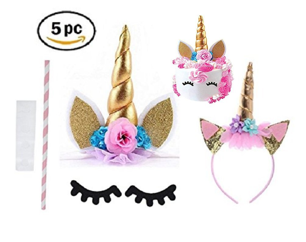 Prime Arts USA | 3D Unicorn Cake Topper with Eyelashes and Headband | DIY Unicorn Party Supplies Cake Decoration Kit for… 8
