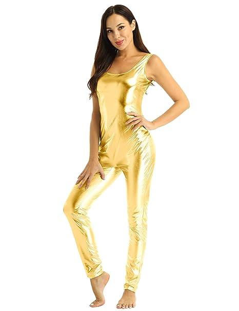 YiZYiF Maillot Completo Mujer Body Brillante Cuerpo Entero ...