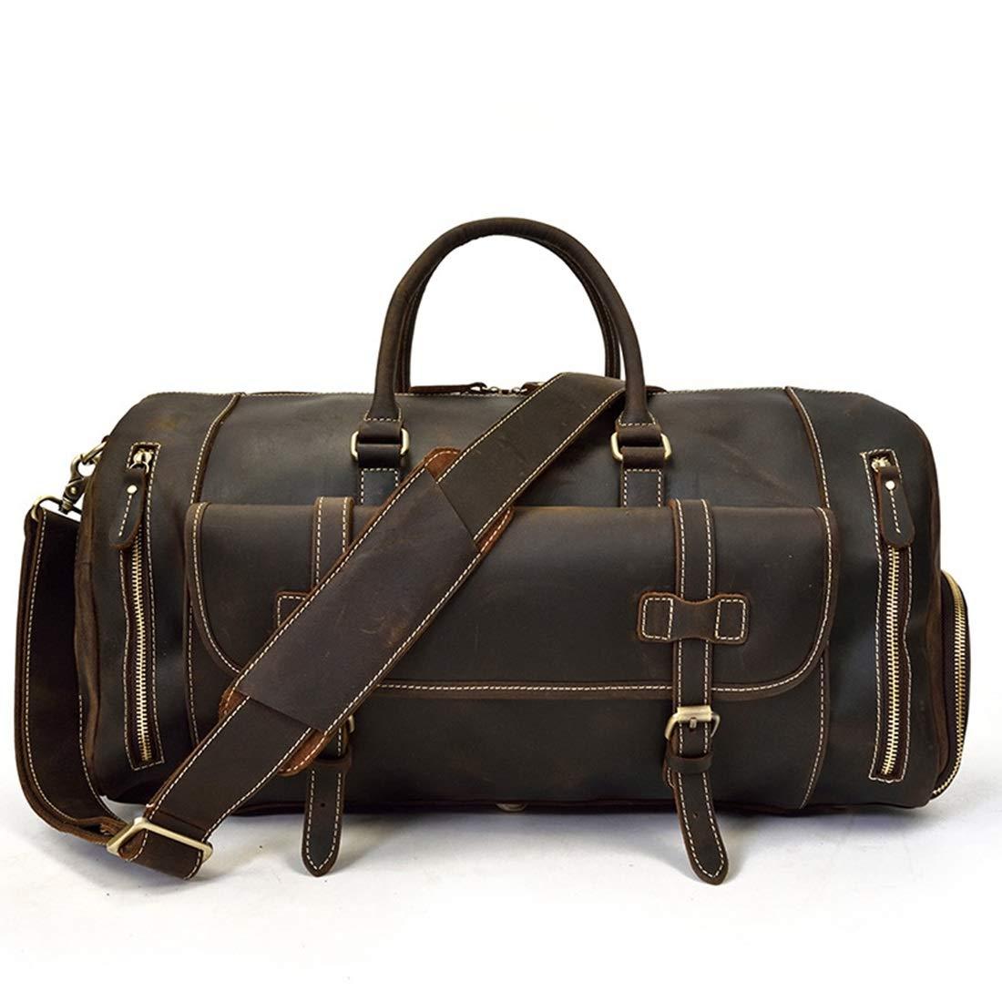トートバッグ,手提げバッグ 靴の位置牛革荷物バッグとメンズレザートートバッグショルダーメッセンジャーバッグ。 出勤,通学,持ち運び便利 (色 : Dark brown) B07RHM7T6V Dark brown