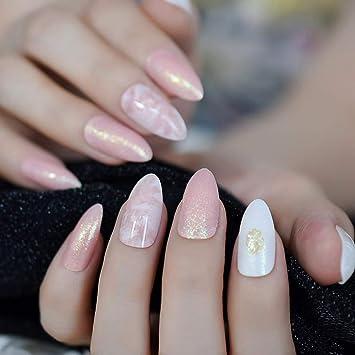 EchiQ Fashion - Uñas postizas de mármol rosa con cabeza ...