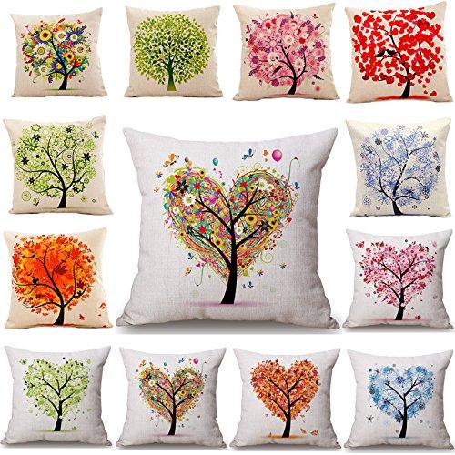 Cases - 45x45cm Tree Decorative Homing Season Life Cotton Linen Bright Colorful Pillowcase - Diagram Case - 1PCs