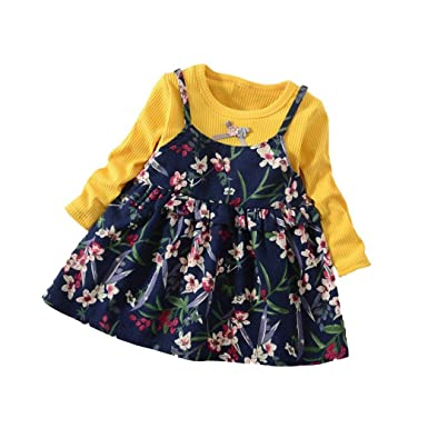 Vestidos niña, ❤ Modaworld Vestido de Estampado Floral de Manga Larga para niñas pequeñas Vestido de Princesa de Fiesta Otoño bebés Tops Camiseta Camisas ...