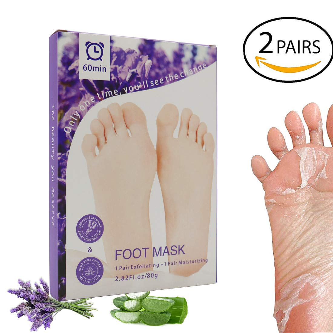 Foot Peel Mask 2 Pairs, Peeling Away Calluses and Dead Skin cells 1-2 Weeks, Make Your Feet Baby Soft, Exfoliating Foot Mask, Repair Rough Heels, Get Soft & Smooth Feet