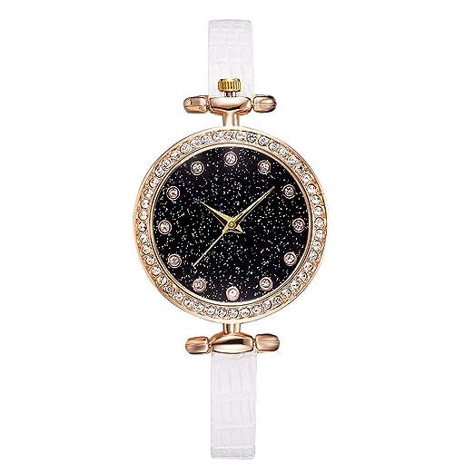 Reloj Mujer Reloj Cuarzo Analógico Diamante Imitación Dial Estrellado Cinturón Cuero Dama Relojes Regalo: Amazon.es: Relojes