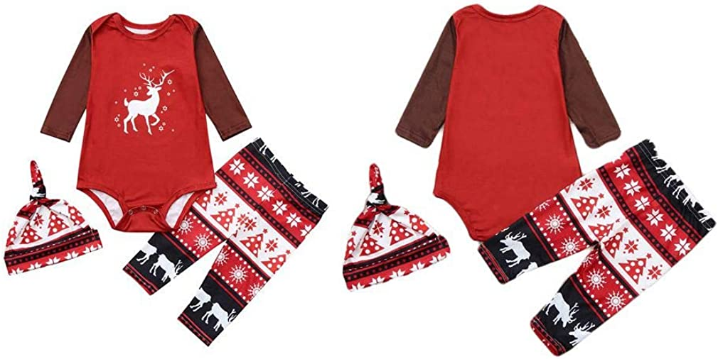 Soft Cotton Family Pajamas Xmas Holiday Pjs Set,Moose Elk Pattern Kehen Family Christmas Pajamas Set