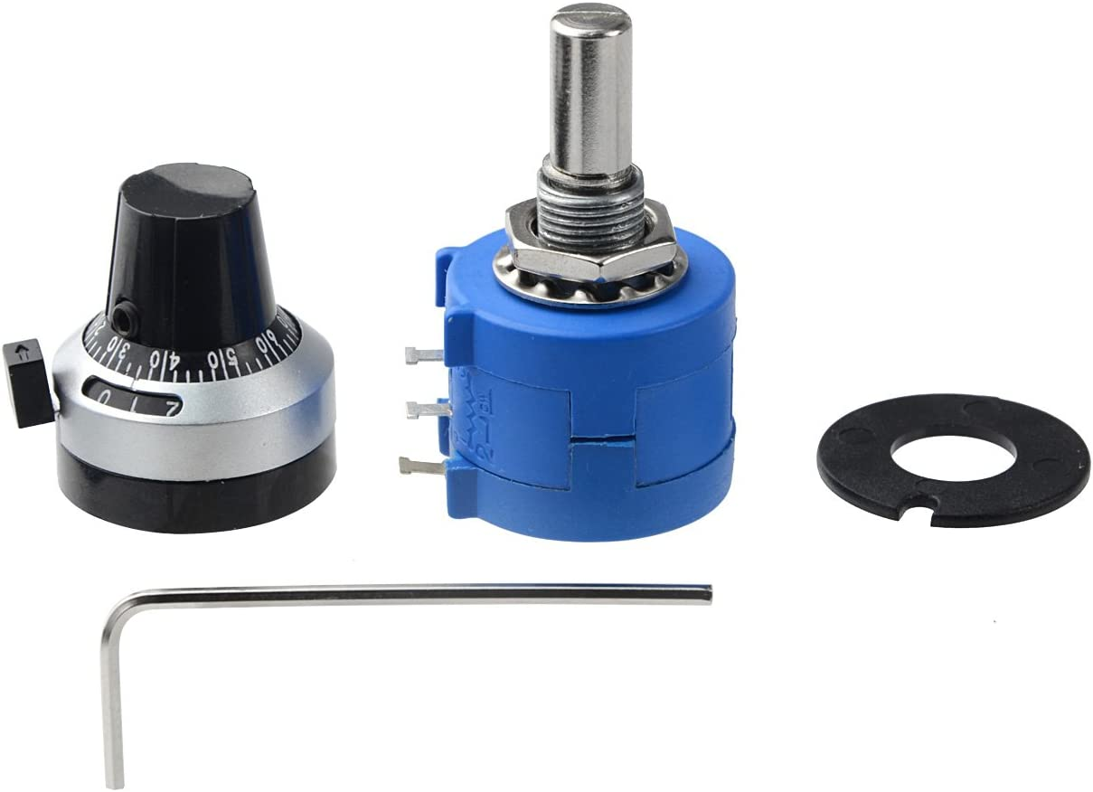 Uxcell 10Turns Wire Wound Potentiometer with Knob 3590S-2-103L 10K Ohm 6 mm Shaft