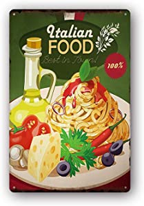 Modern Vintage Metal Tin Signs Italian Food ! Wall Plaque Poster Cafe Bar Pub Beer Club Wall Home Decor 8x12 inches
