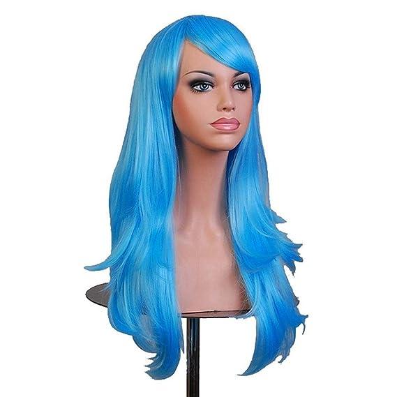 Falamka peluca larga onda para mujeres fiesta pelucas coloridas (azul claro): Amazon.es: Belleza