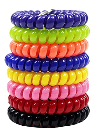 8 pcs colorido Coil elástico pulsera Llavero espiral clave ...