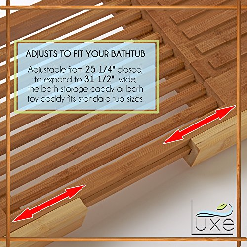 Luxe Expandable Bamboo Bathtub Caddy Adjustable Wooden Serving Tray & Organizer w Book Reading Rack, Wine Glass Holder by Luxe (Image #3)