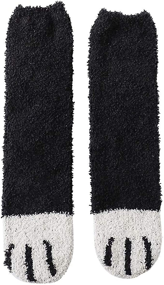 Girl/'s Women/'s No Show Socks Slippers Fuzzy 2 PACK Cozy XS S M L Black  ~NEW~