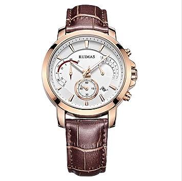 Hombres relojes moda Cronógrafo multifunción Reloj quartz watch de men , brown 2: Amazon.es: Deportes y aire libre