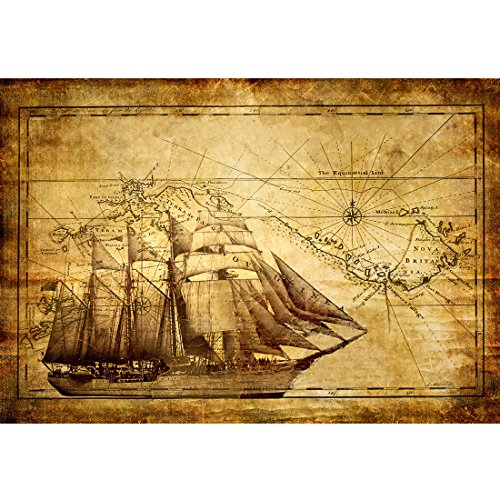 Meishe Art Old Sailing Ship Nautical Map Poster Print Wall Art Picture Home Canvas Decor (23.62'' x 15.75'')