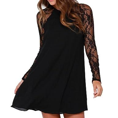 Kolylong® Kleid Damen Frauen Elegant Spitze Chiffon Kleider Vintage Langarm Spitzenkleid  Festlich Skaterkleid Knielang Minikleid d6064c06ba