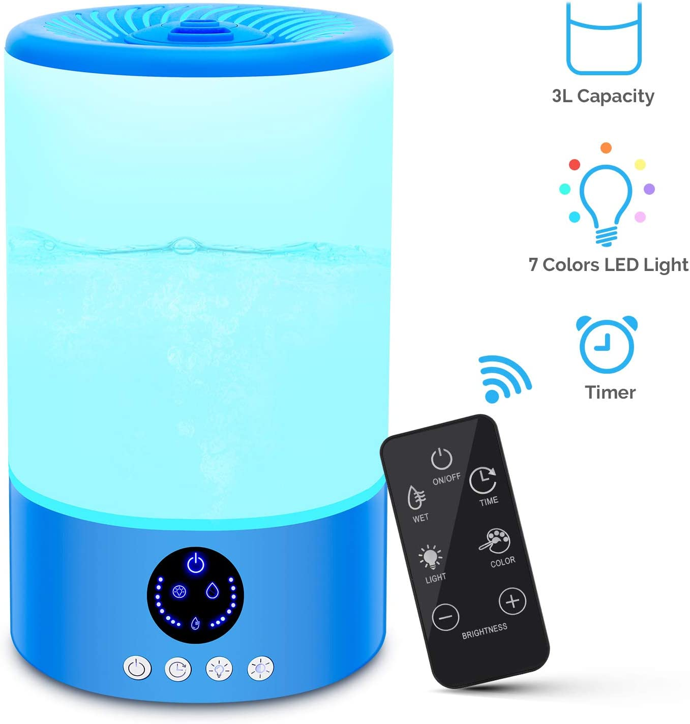 TOCOOL Cool Mist Humidifier, Quiet Humidifiers for Bedroom Babies, 3L Large Humidifier Top Fill Ultrasonic Humidifier with Color Mood Lights Remote Control, Adjustable Mist Output, Auto Shut-Off