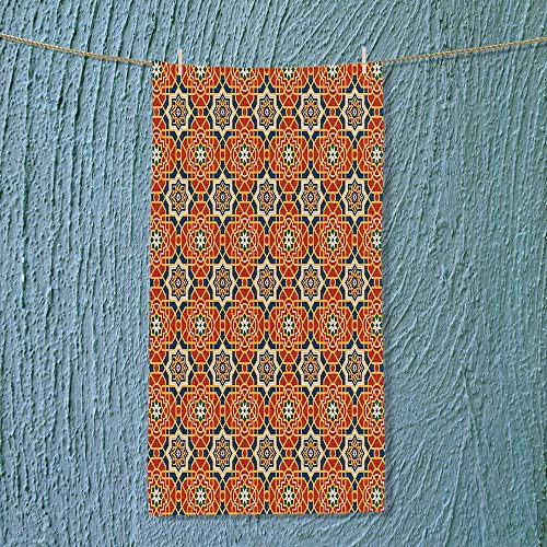 SOCOMIMI Exercise Towel Collection Arabesque Islamic Geometric Oriental Ethnic Patterns and Motifs with Vintage Colors Art Machine Washable by SOCOMIMI