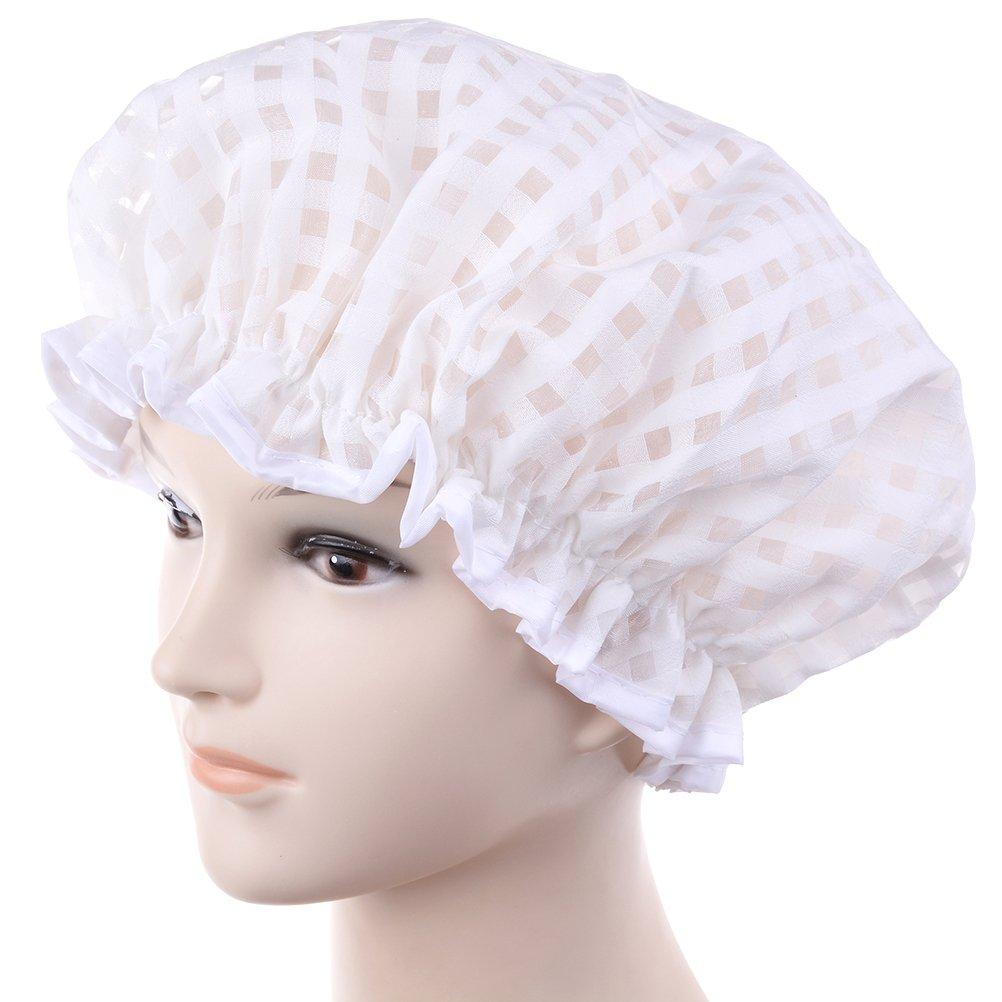 Suxidi impermeabile cuffia da doccia doppio strato doccia fascia elastica doccia Cap Hat Mine tShinesun