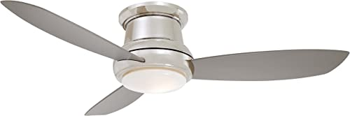 Minka Aire F519L-PN Concept II – 52 Inch Ceiling Fan with Light Kit, Polished Nickel Finish with Silver Blade Finish with White Opal Glass