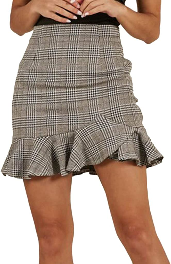 MISYAA Bodycon Mini Skrits Womens High Waisted Ruffle Plaid Slim-Fit Cocktail Party Skirt Summer Casual Office Skirt
