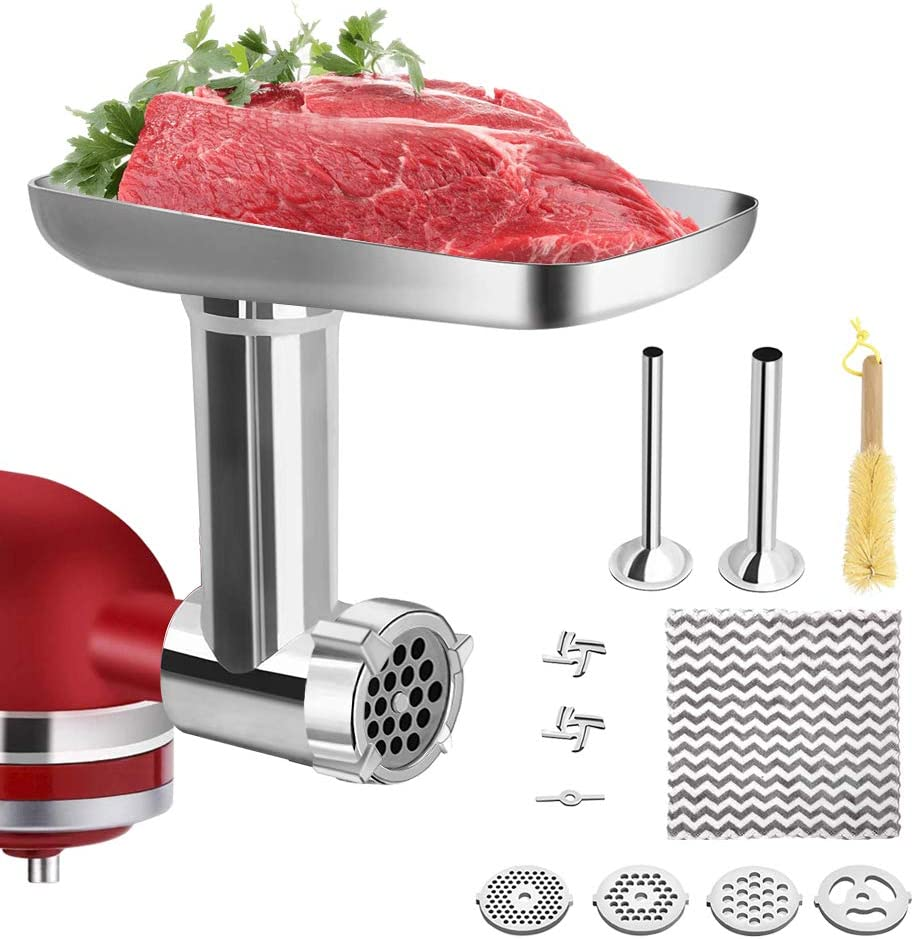 Food Grinder Attachment for KitchenAid Stand Mixers, with Sausage Stuffer Kit, YOFONE Household Metal Meat Grinder Tool for kitchen Aid