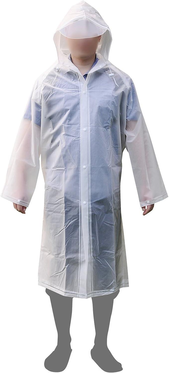 Aircee Raincoat Women Reusable Rain Poncho Packable Long Rain Coat Durable Rainwear Adults Rain Jacket White